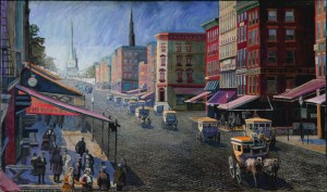 """Broadway Traffic, 1859, no.3,"" oil on canvas (26x42), 2010 (Offered at $4,200)"