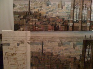 "Detail, ""Brooklyn Bridge, 1876,"" nos. 3 and 4, oil on canvas, 2010 (Work in progress)"