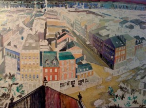 """Broadway 1849, after Paprill's View,"" oil on canvas (26x42), 2010 (Work in progress)"