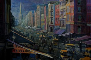 """Broadway Traffic, 1859, no.1,"" oil on canvas (26x42), 2009 (SOLD)"