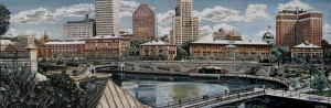"""Waterplace Park, Providence, RI,"" oil on canvas (20x60), 1997 (SOLD, signed prints offered at $120)"