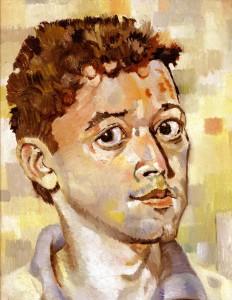 """Scholarship Boy,"" self portrait, oil on canvas board (14 x 11), 1988 (Not on offer.)"