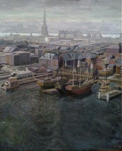 """Old New York, 1876,"" no.4, oil on linen (cropped to 26x42), 2009 (Best in series, offered at $6,200)"